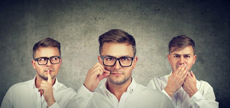 Держите секретное для того чтобы быть тихой концепцией Скрытный человек держа рот закрытый стоковое изображение