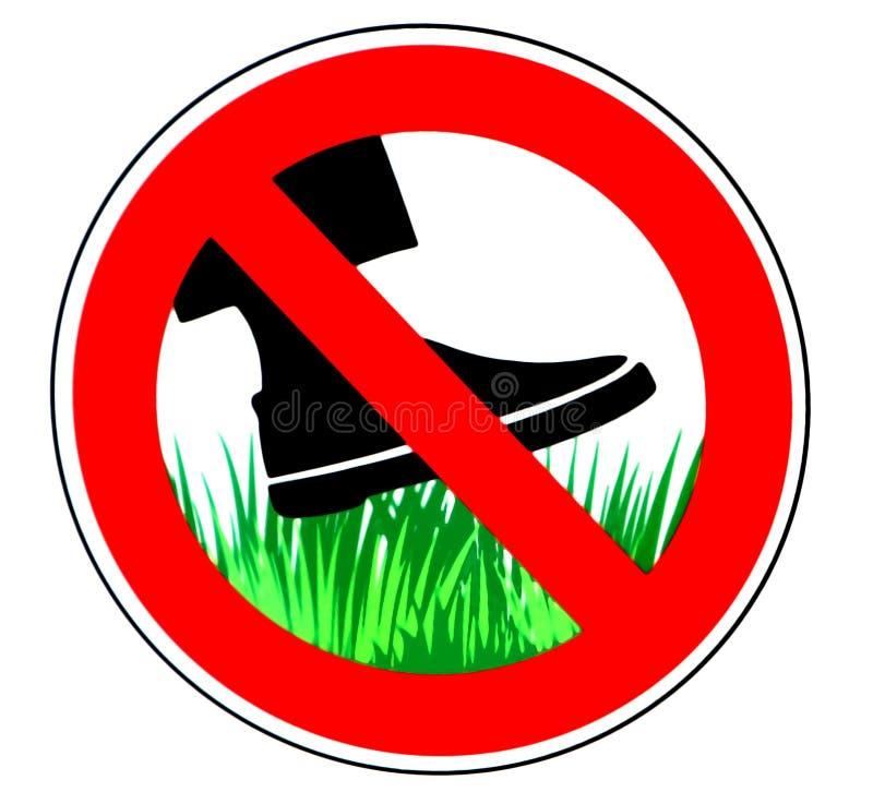 Держите с травы, знака запрета, с силуэтом ботинка над зеленой травой иллюстрация вектора