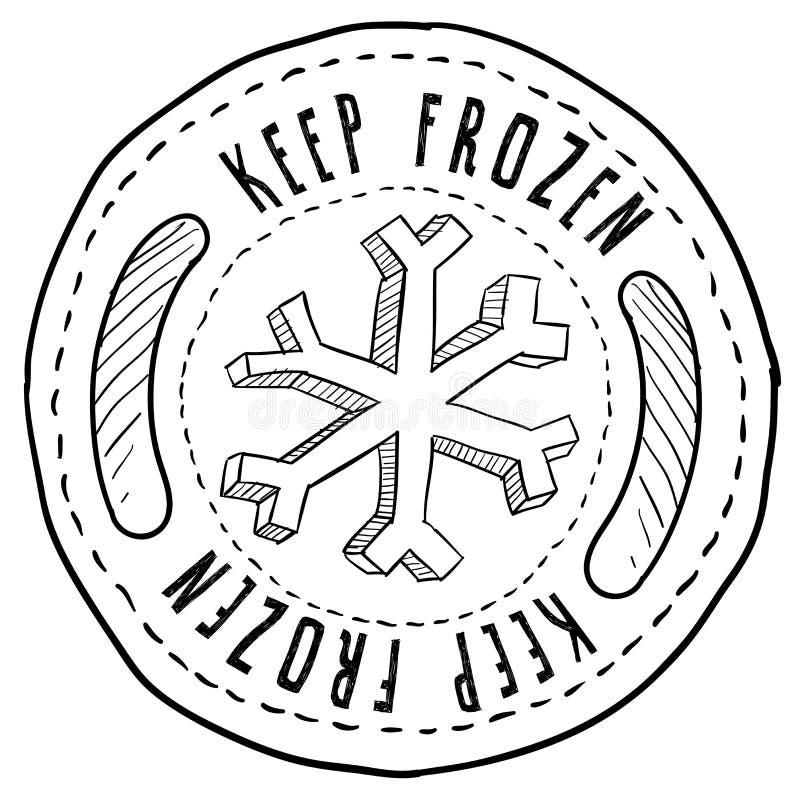 Держите ярлык замороженных продуктов иллюстрация штока