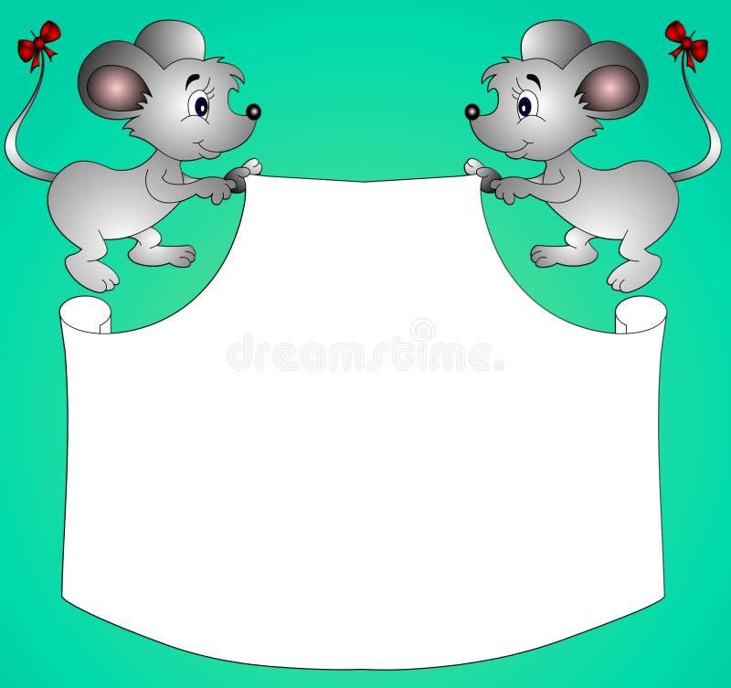 держит бумагу mouses иллюстрация вектора