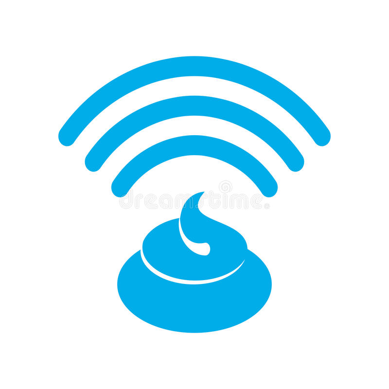 Дерьмо Wi-Fi Экскременты WiFi связь радиотелеграфа бреда собачьего плохой conn иллюстрация штока