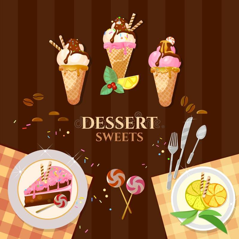 Десерты и торт мороженого помадок очень вкусный иллюстрация вектора