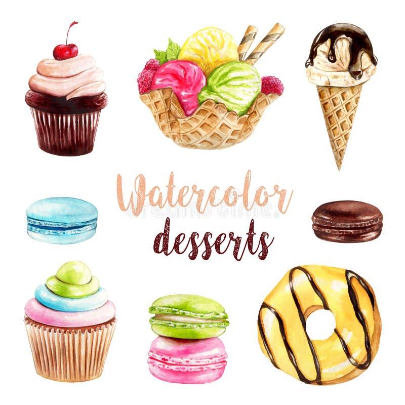 Десерты покрашенные рукой бесплатная иллюстрация