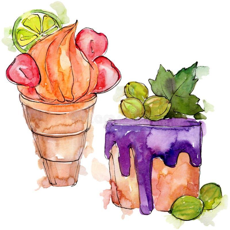 Десерт вкусного конуса мороженого сладкий r Изолированный элемент иллюстрации десертов стоковая фотография