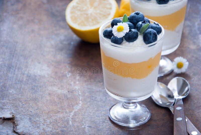 Десерт голубики лимона стоковое фото