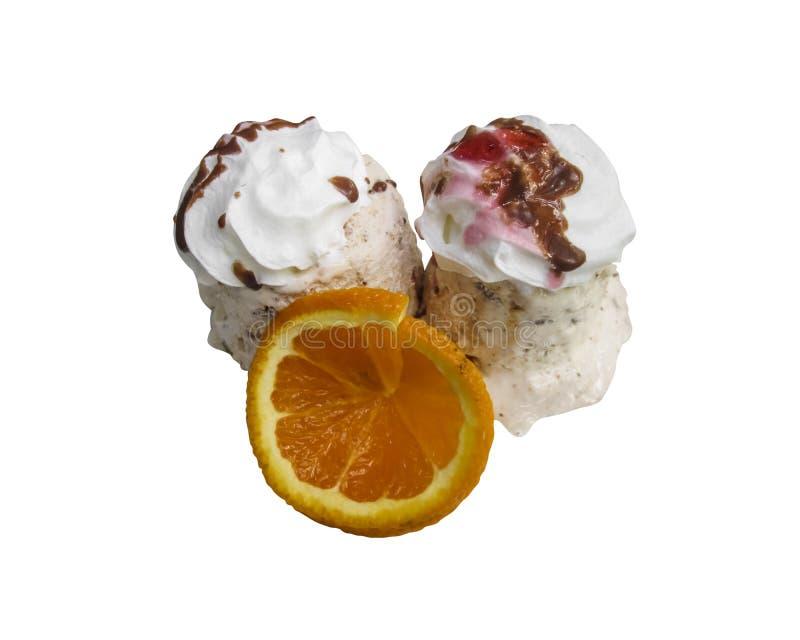 Десерт мороженого при оранжевый изолированный кусок стоковое фото rf