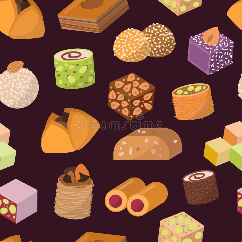 Десерт помадок конфет от востока изолировал картину вектора еды безшовную иллюстрация штока