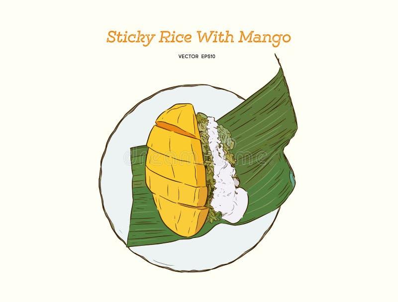Десерт тайского стиля тропический, glutinous рис ест с манго, ha бесплатная иллюстрация