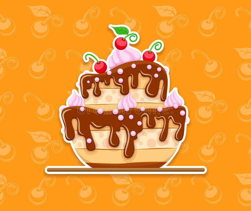 Десерт торта губки с поливой сладостного шоколада иллюстрация штока
