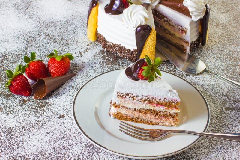 Десерт торта клубники стоковое изображение