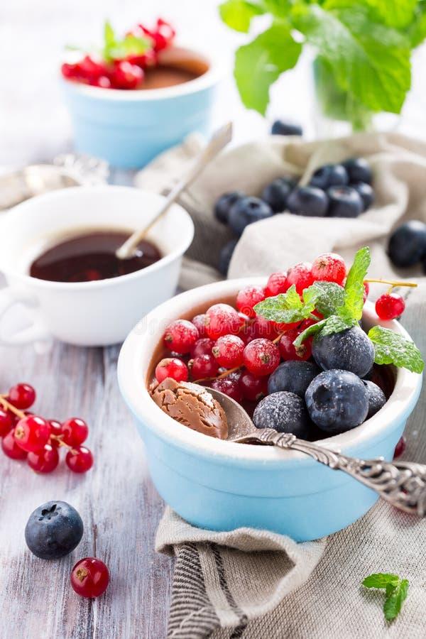 Десерт шоколада с ягодами стоковые изображения