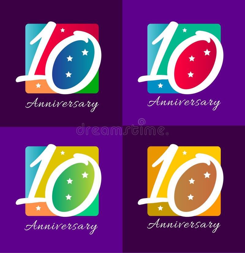 Десятая годовщина иллюстрация штока