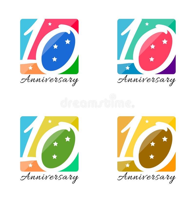 Десятые дизайны годовщины иллюстрация вектора