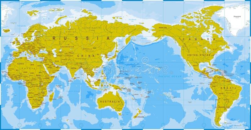 Детализированный зеленый цвет карты мира голубой - Азия в центре иллюстрация вектора