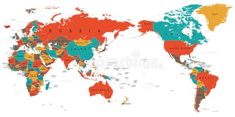 Детализированный цвет карты мира - Азия в центре иллюстрация штока