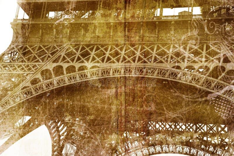 детализируйте башню grunge eiffel стоковое фото