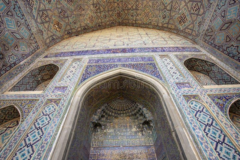 Детали архитектуры на регистре, Самарканда, Узбекистана стоковые фотографии rf