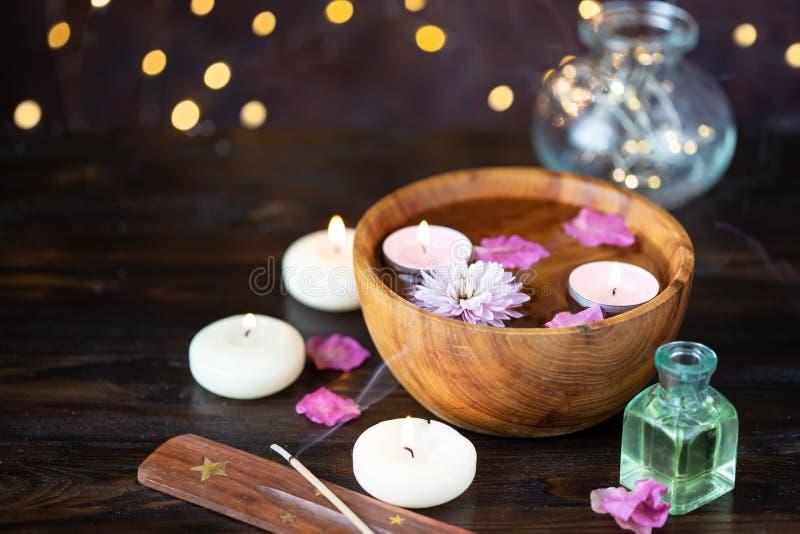 Детали для ароматерапии, массажа Ослабьте и тема спа стоковое фото rf