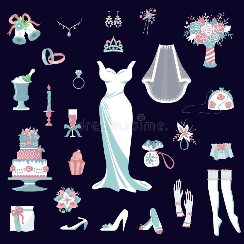 Детали для платья свадебной церемонии bridal, ботинки свадьбы вектора аксессуаров невесты установленные, подвязка, букет, вуаль,  иллюстрация штока