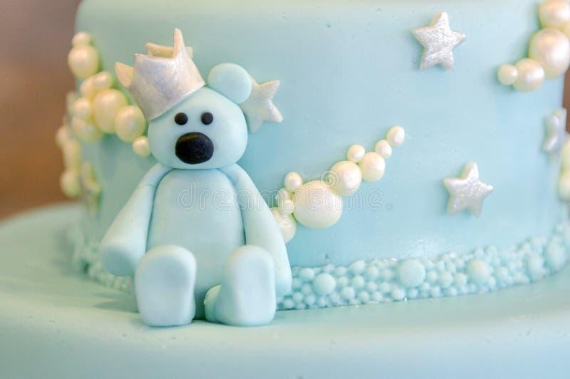Детали именниного пирога в сини, для мальчика стоковое фото