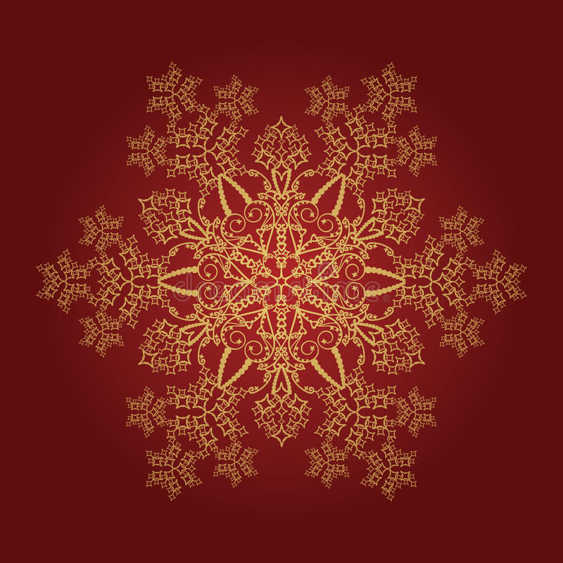 детальная золотистая снежинка иллюстрация штока