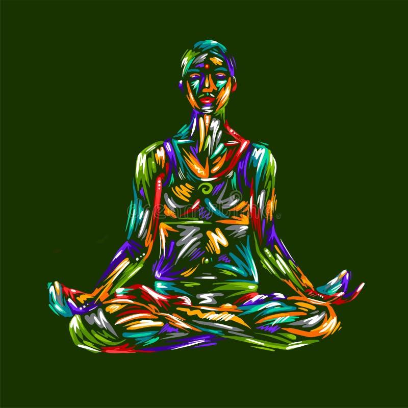Детальная иллюстрация йоги силуэта релаксация pilates пригодности принципиальной схемы шарика гимнастика аэроплана Представление  иллюстрация штока