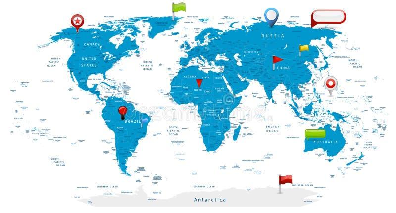 Детальная карта мира и лоснистые значки на карте иллюстрация вектора