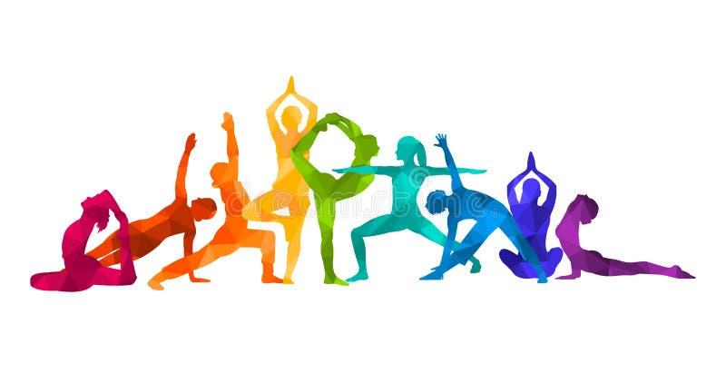 Детальная красочная иллюстрация йоги силуэта релаксация pilates пригодности принципиальной схемы шарика гимнастика AerobicsSport иллюстрация штока