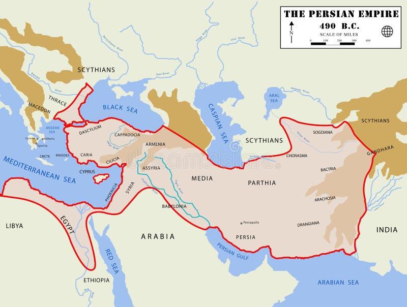 детальная персиянка карты империи иллюстрация вектора