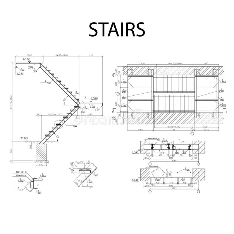 Детальный архитектурноакустический план лестниц, вектор строительной промышленности иллюстрация штока
