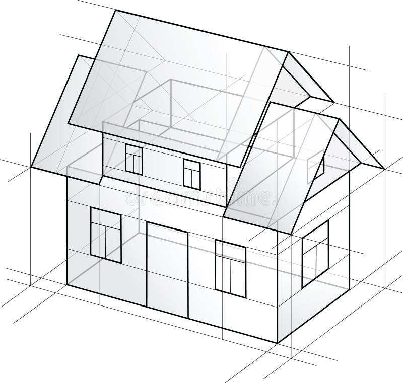 детальный вектор дома проекта стоковые фото