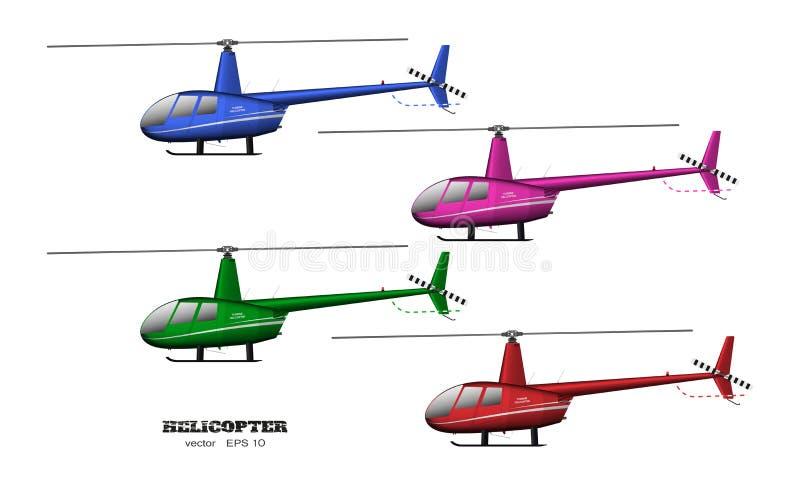 Детальный вертолет Взгляд со стороны изображение 3d корабля дела Промышленный изолированный чертеж Вертолет в реалистическом стил бесплатная иллюстрация