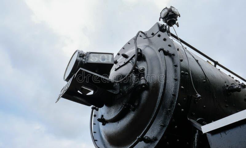 Детальный взгляд прежнего, американского локомотива стоковые изображения rf
