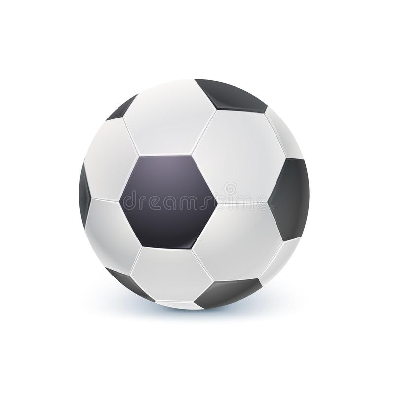 Детальный значок шарика для игры в классическом футболе Реалистический футбольный мяч изолированный на белой предпосылке, иллюстр бесплатная иллюстрация