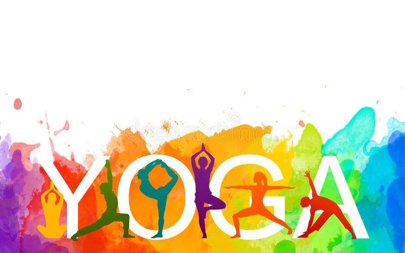 детальный красочный силуэт йога люди иллюстрируют водокрасный фон Понятие пригодности Гимнастика Аэробика иллюстрация штока