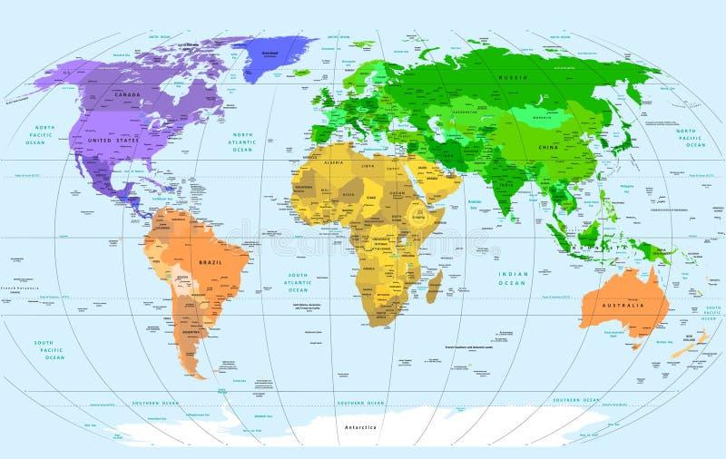 детальный мир карты иллюстрация вектора