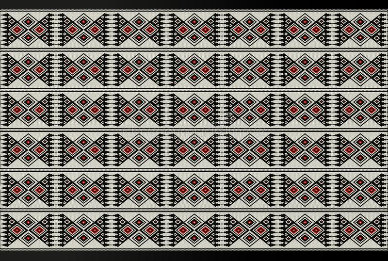 Детальный мотив Sadu красной и черной темы традиционный этнический бесплатная иллюстрация