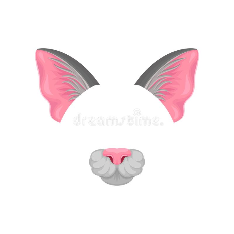 Детальный плоский значок вектора розовых ушей и носа кота s Маска домашнего животного Элемент костюма масленицы Дизайн для иллюстрация штока