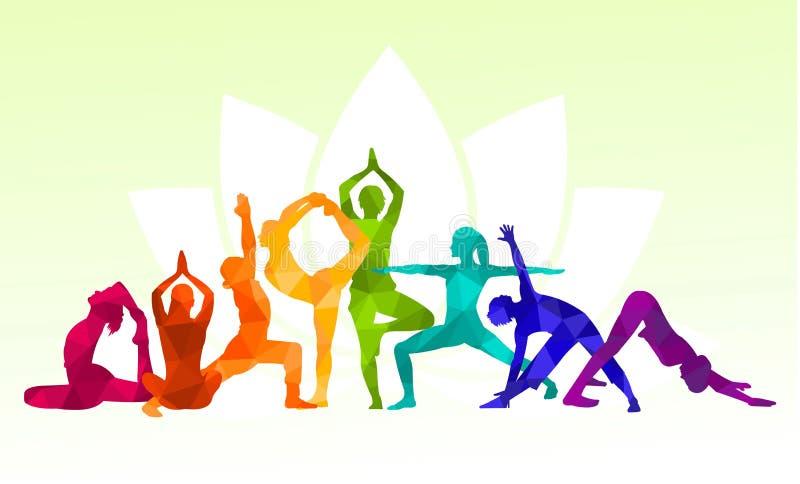 детальный цветной силуэт йога люди иллюстрация фон Понятие пригодности Гимнастика Аэробика Асаны, медитация бесплатная иллюстрация