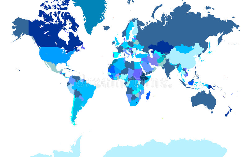 детальный экстренный мир карты иллюстрация вектора