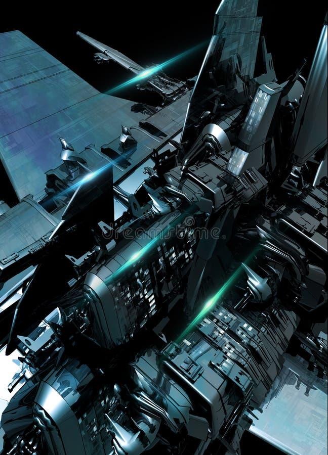 Деталь большого космического корабля стоковое изображение rf