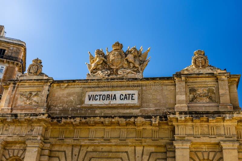 Деталь ворот Виктория в средневековом городе Валлетты стоковые изображения rf