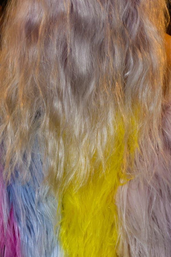 Деталь модельных волос и платья ` s кулуарных во время Натальи Ri стоковое фото rf