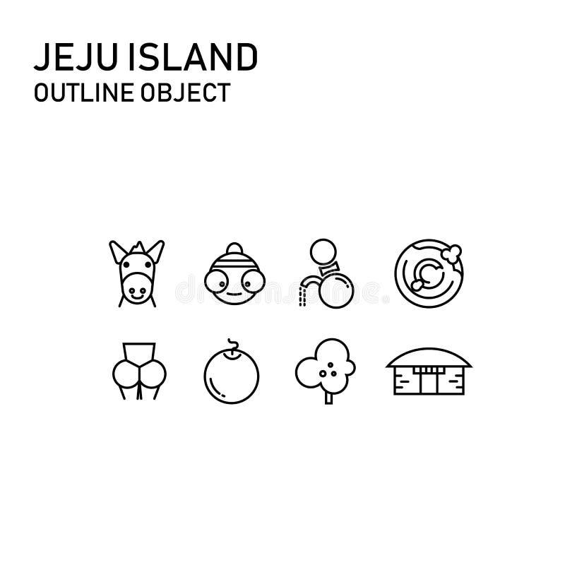 Деталь острова Jeju с прозрачным дизайном плана, значком doodle стоковое фото