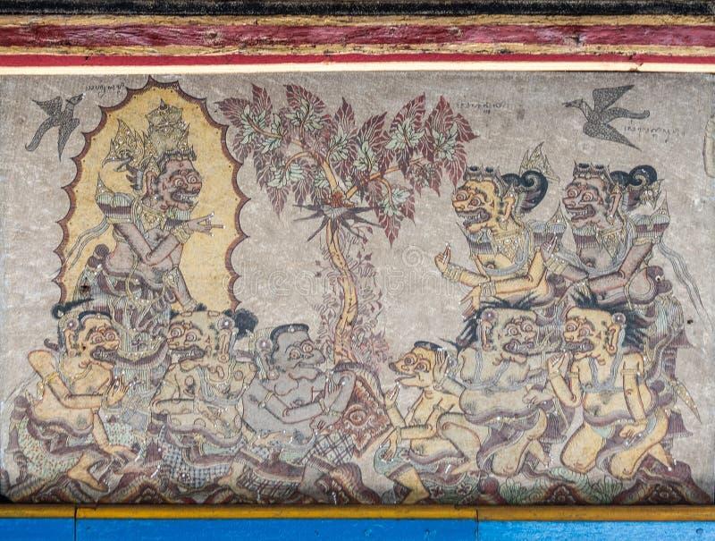 Деталь потолка Kertha Gosa, королевский суд, Klungkung Бали Индонезия стоковое фото rf