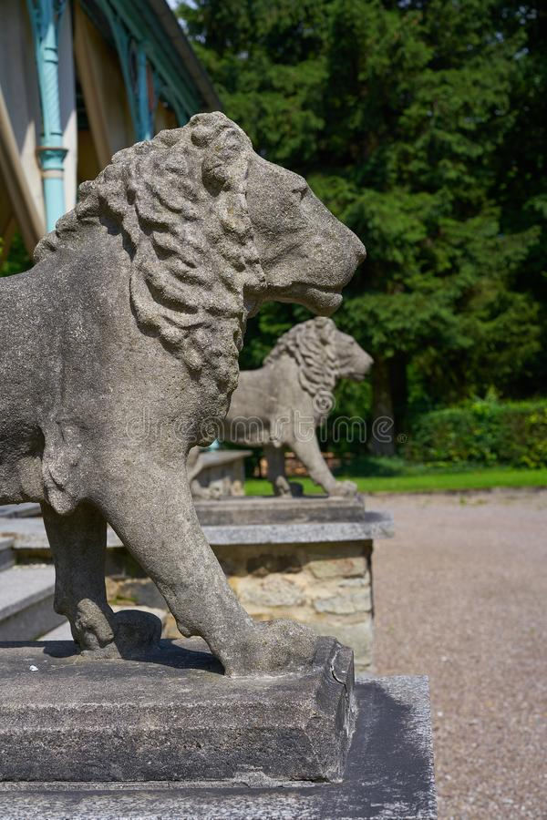 Деталь статуй льва в кресте Josheps на Stolberg Harz стоковые изображения rf
