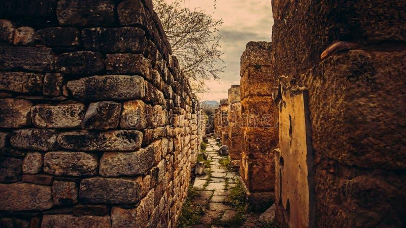 Деталь стены древнего города Afrodisias Aphrodisias в Caria, Karacasu, Aydin, Турции стоковая фотография rf