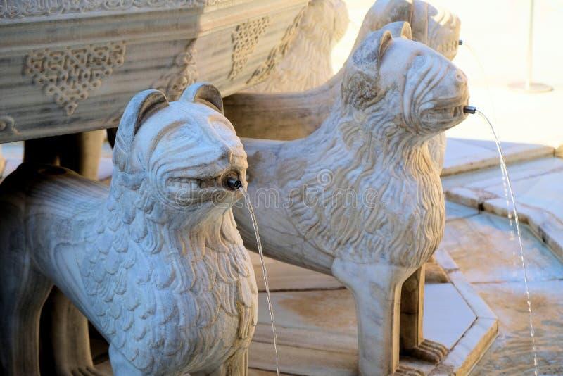 Деталь фонтана львов на Альгамбра в Гранаде, Испании стоковое изображение