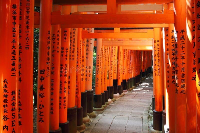 Деталь toriis помещенных во время следа до саммита святыни Fushimi Inari Taisha, Киото, Японии стоковое фото rf