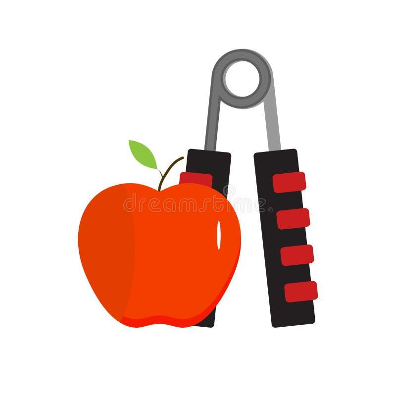 Детандер и яблоко, здоровая еда и спорт иллюстрация вектора